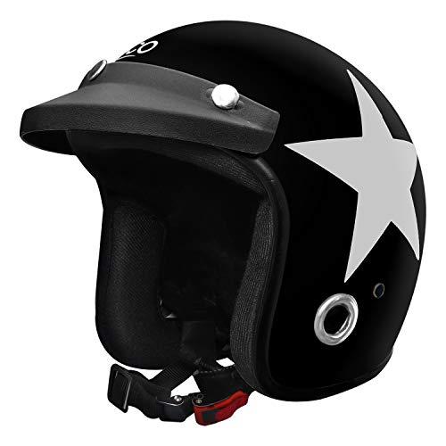Habsolite Ecco Star Front Open Helmet (Black and Grey, M)