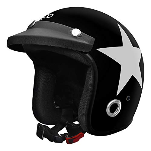 Habsolite Ecco Star Front Open Helmet (Black and Grey, M)