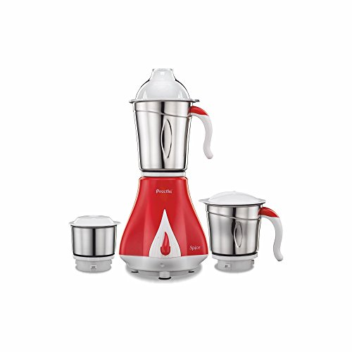 Preethi Spice MG 203 550-Watt Mixer Grinder (Cherry Red with Cream Border)