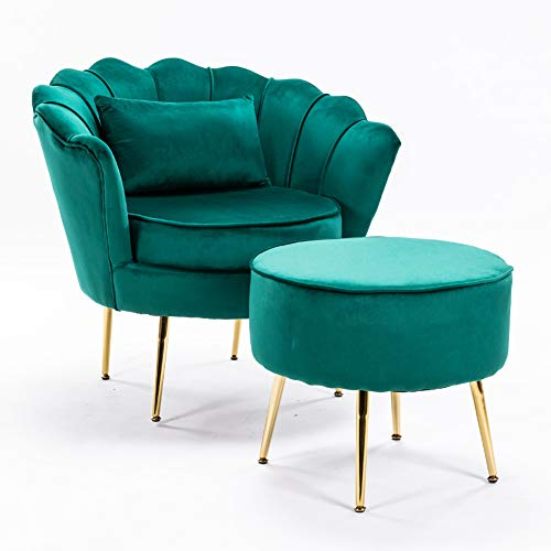 LZWZW Lounge Chairs Arm Chair with Footstool Living Room Velvet Tub Armchairs Palting Metal Leg Armrests Sofa Chair (Dark Green)