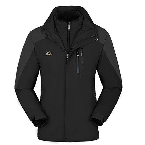 KAISIKE Women's Windproof Softshell Fleece Ski Jacket 3 in 1 Outdoor Sports Coat(W168/Black-M)