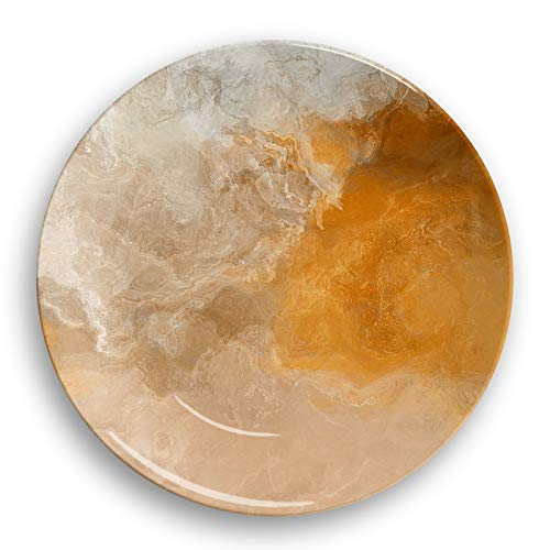 Microwave safe outdoor plate or bowl with abstract art, Evening Gold