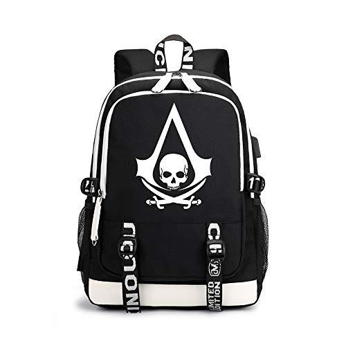 Assassin's Creed Daypacks Neue Marken-Tasche koreanische Version des einfachen Studenten-Taschen-Karikatur-Druck-Rucksacks Unisex (Color : Black02, Size : 30 X 15 X 43cm)
