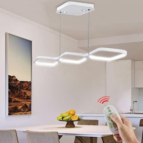 Lámpara techo colgantes, Anten DARIO 30W LED lamparas de techo modernas de Aluminio con mando a distancia, función de memoria y Temperatura de color regulable, para Sala, Restaurante, Bar, cafetería
