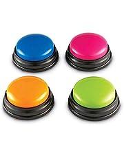 Blusea Liten storlek lätt att bära röstinspelning ljudknapp för barn interaktiv leksak svarsknappar orange + rosa + blå + grön