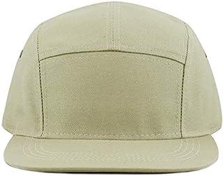 The Hat Depot Made in USA Cotton Twill 5 Panel Flat Brim Genuine Leather Brass Biker Board Cap