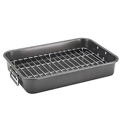 Farberware Bakeware Nonstick Steel Roaster with Flat Rack, 11-Inch x 15-Inch, Gray