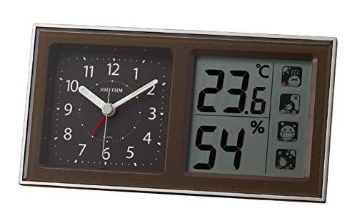 リズム(RHYTHM) 目覚まし時計 電子音アラーム 高精度 温度 湿度 連続秒針 ブラウン 8RE678SR06 8.6x16x4.8cm