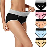 POKARLA Women's High Waisted Cotton Underwear Soft Breathable Panties Stretch Briefs 5-Pack (MultiColored-01-5Pack, Large)