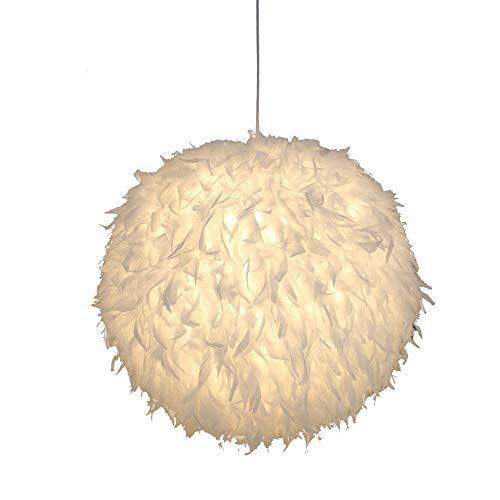 Lámpara colgante de plumas moderna para comedor, lámpara de techo, estilo romántico, ajustable, para dormitorio, sala de estar, boda o decoración de fiesta (tamaño: 50 cm)