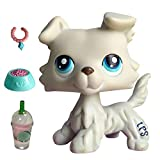 USALPS lps Gray Collie #363 with Blue Eyes with lps Accessories Necklace Bow Drinks Kids Gift