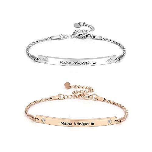 PiercingJak Pulseras para madre e hija, con grabado de reina, princesa, de acero inoxidable, pulsera para mujer, set de regalo de cumpleaños para mujeres y niñas, plata + oro rosa