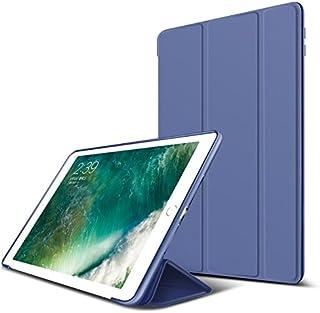 【液晶保護フィルム付き】 新しい iPad 9.7 2018 ケース 手帳型 横開き 三つ折り PUレザー + シリコン 耐衝撃 スタンド機能 オートスリップ機能 マグネット 磁気吸着 軽量 薄型 ブランド 正規品 (ブルー)