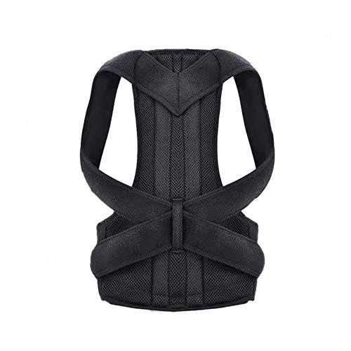 yuery Corrector de cintura ajustable para adultos cinturón de corrección cintura entrenador hombro lumbar soporte de la columna vertebral chaleco M negro