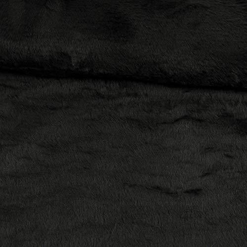 Stoffe Werning Teddystoff glatt Uni schwarz Plüschstoff Plüschteddy einfarbig - Preis Gilt für 0,5 Meter