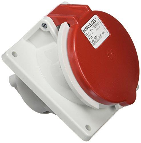 Mennekes 101100243 Halbeinbau-CEE-Steckdosen, 400V, 50–60Hz, 32A, 5-polig, IP44, 92x 100mm großer Rahmen, Rot, 1er pack