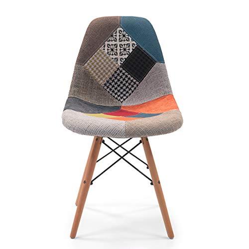Silla de Comedor Cool tapizada en Tela Patchwork inspiración (1 UD.)