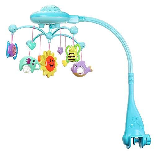 Bright love Lit bébé Pivot de la boîte à Musique Enfant étoile Jouet de Projection lumière, Berceau de Musique Mobile Berceau,Blue