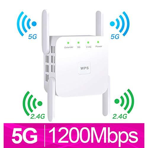 Wmagnifiy Repetidor De Red WiFi Amplificador, Amplificador Señal WiFi Repetidor WiFi Amplificador con Modo Ap WiFi Extensor De WiFi con Antenas Externas,1200M