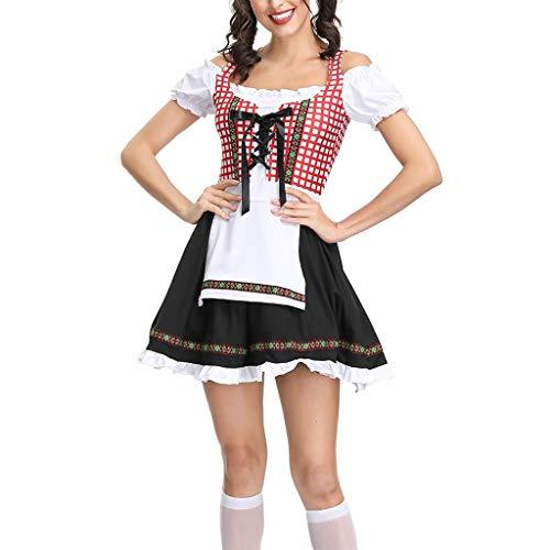 NEEKY Damen Oktoberfest KostüM Damen Bier Festival Kleid bayerischen Cosplay Kostüme Oktoberfest KostüM(M,rot)