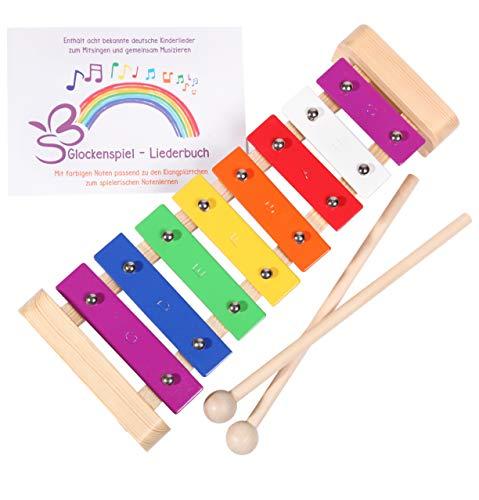 SCHMETTERLINE Glockenspiel für Kinder aus Holz – Harmonisches Xylophon mit Notenbuch und Holz-Schlägeln – Musikinstrument ab 3 Jahren