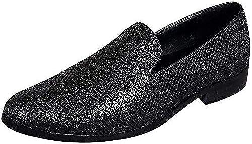 Rui Landed Oxford for Men Formelle Schuhe Slip On Style Hochwertiges echtes Leder Elegant SchwarzShiny Upper Casual Business Style Nachtclub (Farbe   Schwarz Größe   46 EU)