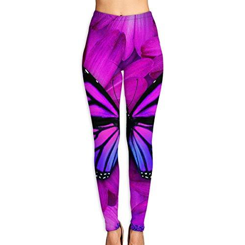 JJsister Women \'s Purple Butterfly Bedruckte Leggings Yoga Workout Leggings in voller Länge Hosen Soft Capri