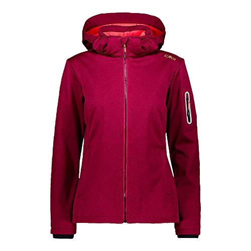 CMP Damen Softshelljacke Woman Jacket Zip Hood 39A5006M Magenta Mel.-Red Fluo 42