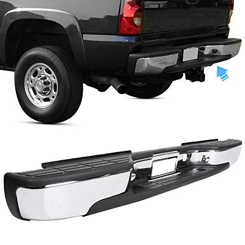 Rear Step Bumper For 1999-2007 Chevy Silverado GMC Sierra 2500 HD 3500 Truck Chrome Steel Replacement for GM1103129 12504134
