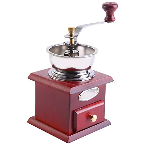Vintage Manual Coffee Grinder, Wooden Hand Coffee Grinder Coffee Mill Hand Crank Coffee Bean Grinders with Drawer(Red)