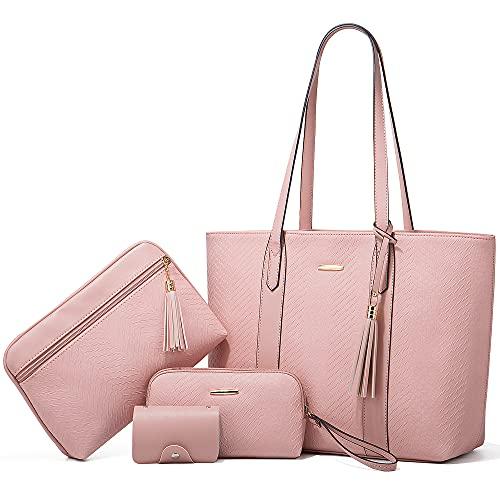 LUOWAN Bolsos Mujer Grandes Cuero Bandolera Tote Bolso Para Mujer Shopper Señora Tote Bolsos de Mano 4pcs Set (Rosa)