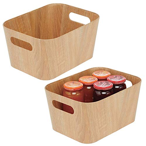 mDesign - Opbergmand in 2-delige set - opbergbox - open bovenkant/handvatten - voor voedsel - voor koelkast/vriezer/buffetkast - natuurlijk - natuurlijk
