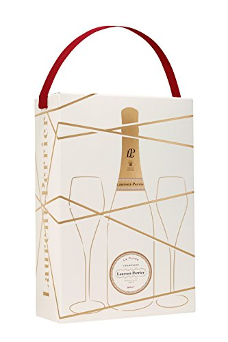 Laurent Perrier La Cuvee Brut Non Vintage Champagne with Two Glasses Gift...