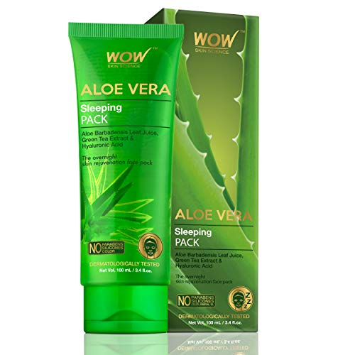 WOW Skin Science Aloe Vera with Green Tea Extract and Hyaluronic Acid Sleeping Pack - No Parabens, Silicones & Color - 100 mL