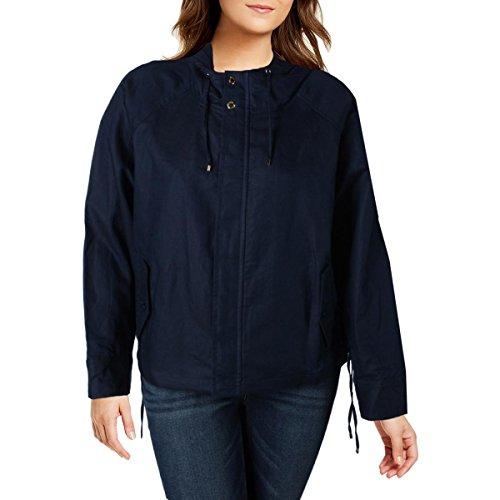 LAUREN RALPH LAUREN Karalea Women's Linen Blend Lace Up Jacket Navy Size M