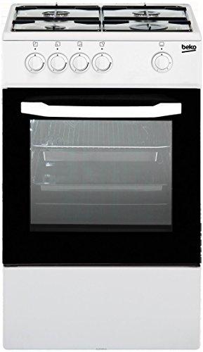 Beko CSG42000DW - cucina acciaio bianco - 4 fornelli a gas - forno elettrico statico - grill - 50 x 50 centimeters
