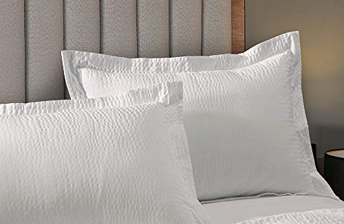 """Courtyard by Marriott Textured Pillow Sham - 1 Decorative Pillow Sham with Wash-Activated Ripple Texture Exclusively for Courtyard - White - King (20"""" x 36"""" After Washing)"""