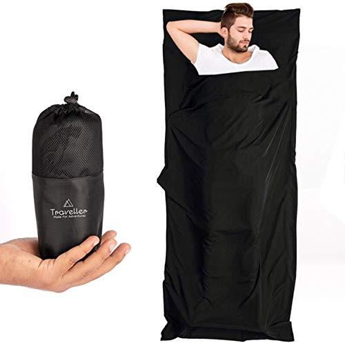 Traveller 2in1 Hüttenschlafsack mit durchgängigem Reißverschluss: Leichter Komfort Reiseschlafsack und XL Reisedecke in Einem - Sommer Schlafsack Inlay - Ideal für Reisen durch Warme Länder