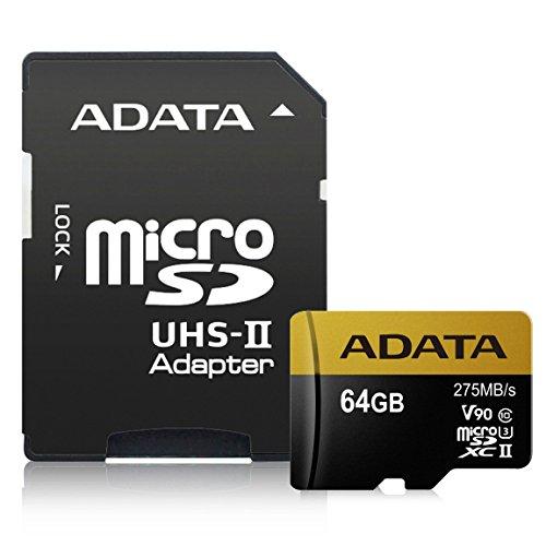 Flash-Speicher ADATA Premier One V9064GB MicroSDXC UHS-II Klasse 10(275MB/s, schwarz, Gold)