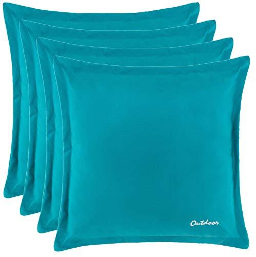 Brandsseller Outdoor Kissen Dekokissen - Schmutz- und Wasserabweisend mit Reißverschluss 2 cm Steg - 350 gr. Füllung - Größe: 48 x 48 cm - Farbe: Türkis - 4er Vorteilspack