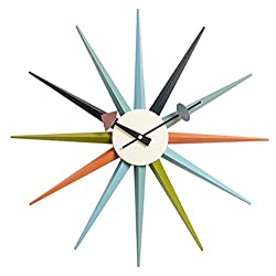SHISEDECO Modern George Nelson Sunburst Clock Multicolor - Non Ticking,Wooden Mid Century Retro Design Decorative Silent Wall Quartz Clock for Home,Living Room,Office and Bedroom etc.(Multicolor)