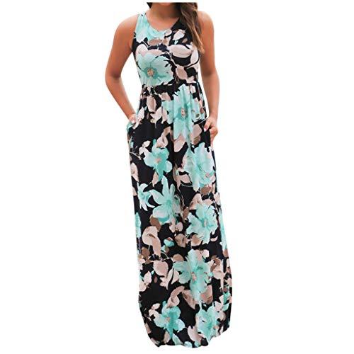 Fcostume Kleider Damen Blumen Kleid Elegant Langarm Maxikleid Floral Print Böhmischen Strand Maxi Kleid Casual