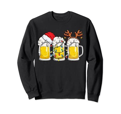 Cerveza Navidad taza Santa Reinbeer Navidad luces regalo hombres mujeres Sudadera