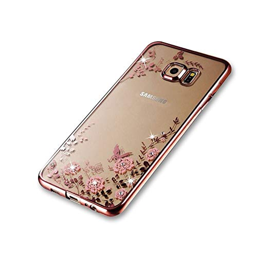 FDTCYDS Galaxy S6 Case,Rhinestone Transparent Electroplated Slim Fit Lightweight Metallic Luster TPU Case Cover for Samsung Galaxy S6 - Flower Rose Gold