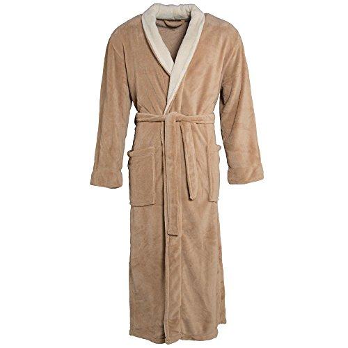 CelinaTex Nevada Bademantel Damen Herren XL beige creme weiß Mikrofaser Saunamantel Coral Fleece Morgenmantel