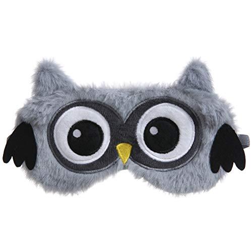 Glueckme Owl Sleep Plush Blindfold, Breathable Fluffy Eye Mask, Winter Cartoon Nap Eye Shade for Home Office Travel