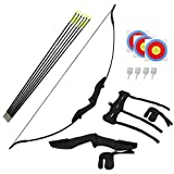 Amarine Made Bow and Arrows 40Lbs Set Archery Recurve Bow Kit for Adult Youth Junior Beginner Takedown Bow Outdoor Shooting Hunting Training Target Practice