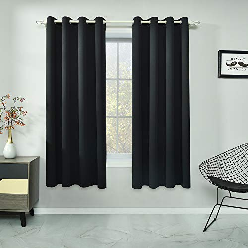 RAIN CITY Black Curtains 45 Inch Length for Kids Bedroom Privacy Protection Curtains for Bathroom Small Windows Top Grommet Darkening Black Blackout Short Curtains Set of 2 Panels 52 X 45 Inches Long