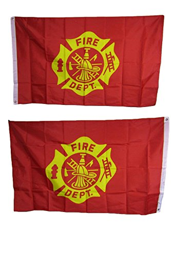 AES 3x5 Fire Dept Fighter Emblem Heavy Duty Polyester Nylon 200D Double Sided Flag Grommets House Banner Double Stitched Fade Resistant Premium Quality