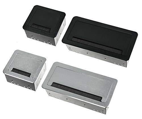 Einbausteckdose 2-4-fach inkl. Ethernet Tischsteckdose Bodensteckdose (4er, schwarz)